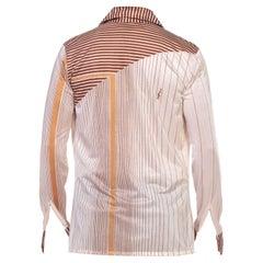 1970S Brown & Cream Nylon Tricot Jersey Men's Disco Stripe Shirt