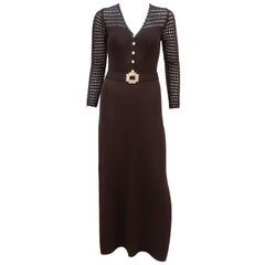 1970's Brown Crochet Dress With Rhinestone & Gold Details