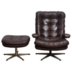 1970s, Brown Leather and Chrome Swivel Lounge Chair and Ottoman, Sweden