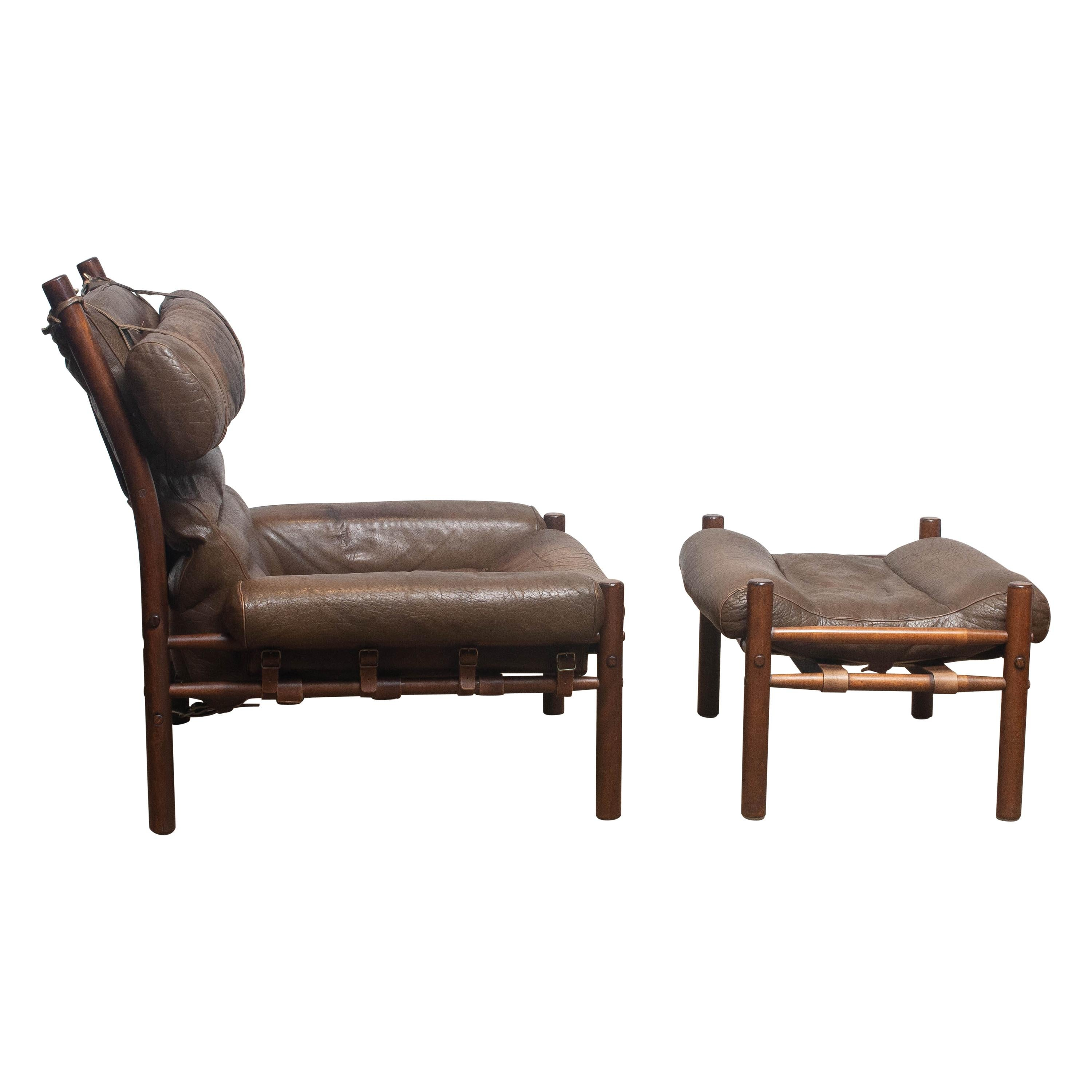 """1970s, Brown Leather Chair """"Inca"""" and Ottoman by Arne Norell Möbler AB, Sweden"""