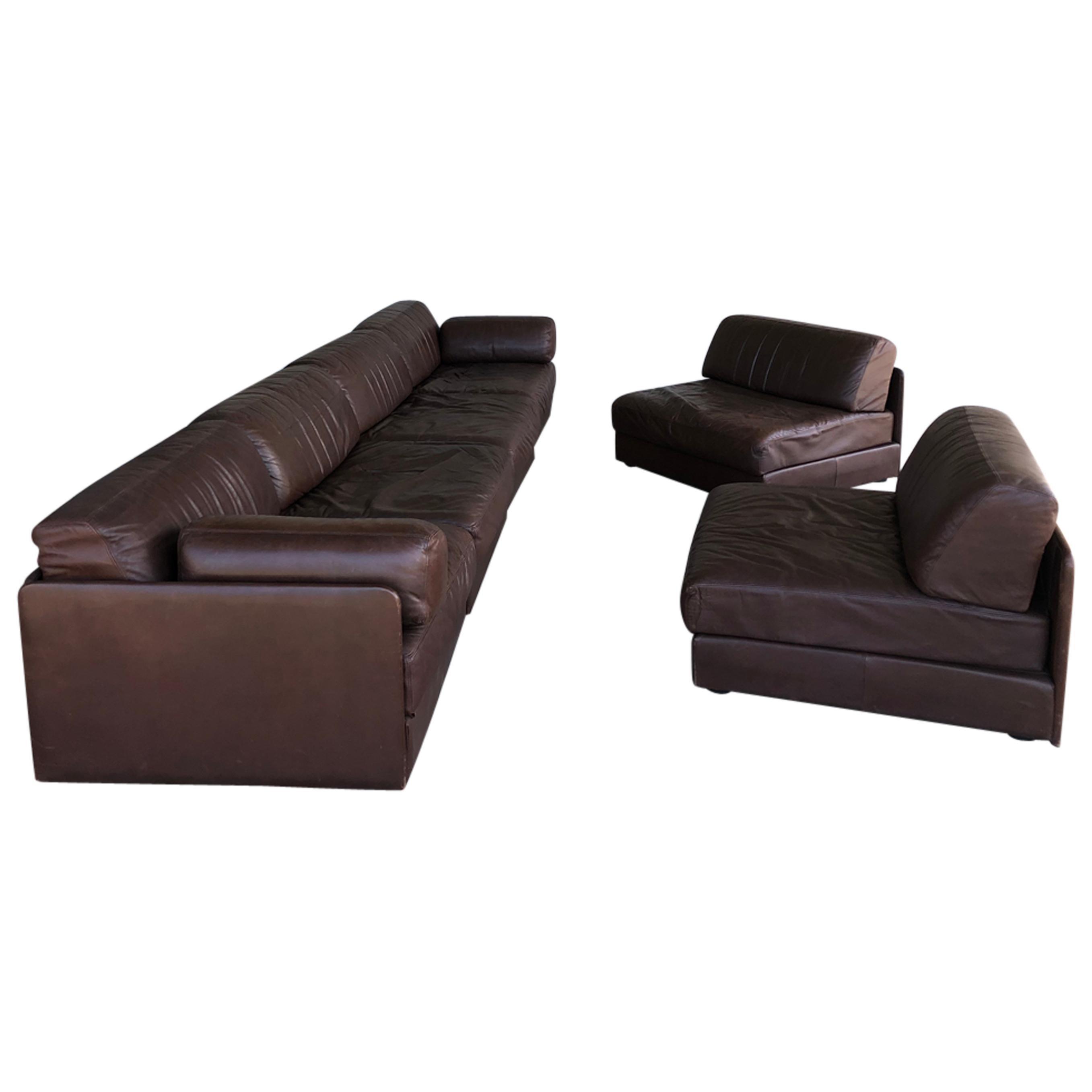 1970s Brown Leather Sofart DS Modular Sofa