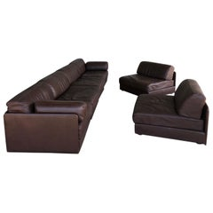 1970s Brown Leather Sofart DS Modular Sofa