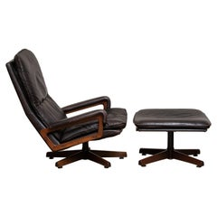1970s Brown Leather Swivel Chair and Ottoman by André Vandenbeuck for WK Mobler