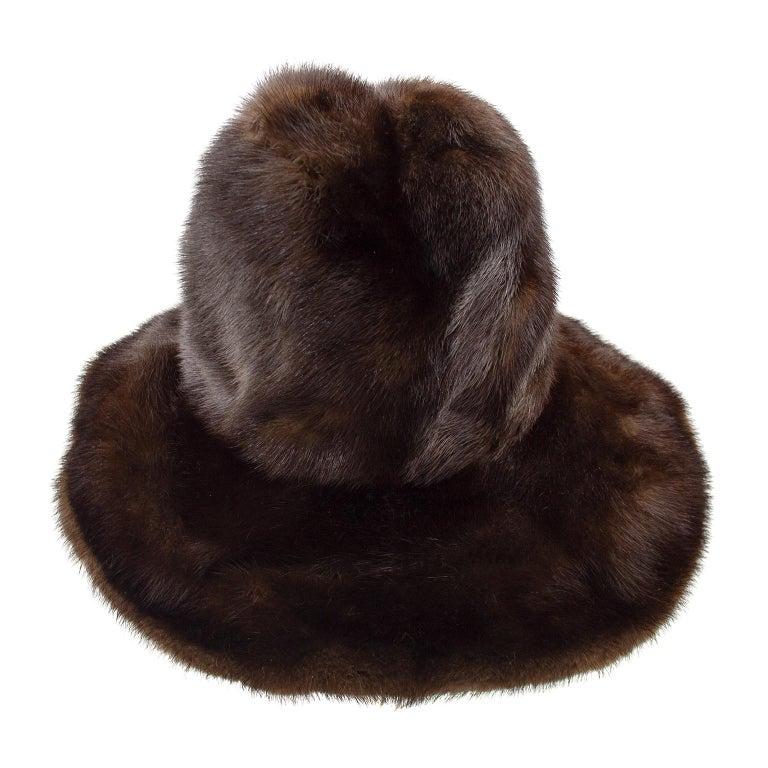 Black 1970s Brown Mink Wide Brim Hat  For Sale