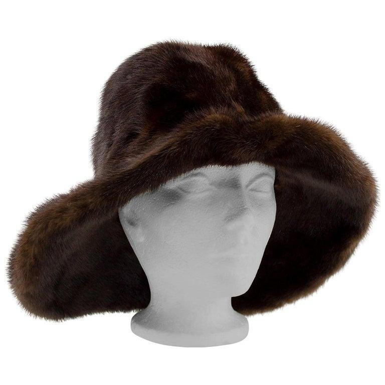 1970s Brown Mink Wide Brim Hat  For Sale