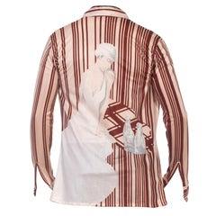 1970S Brown Nylon Tricot Jersey Stripe Smoking Cigarette Men's Disco Shirt