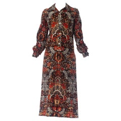 1970S Brown & Red Polyester Jersey Batik Paisley Print Shirt Dress