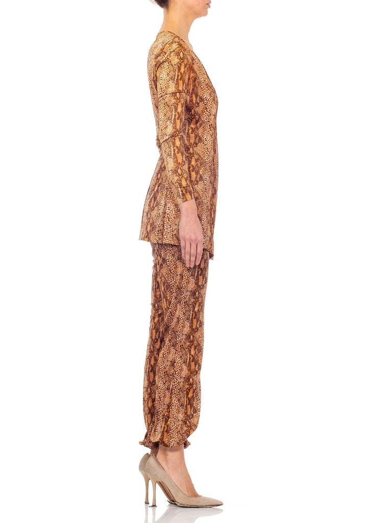 Women's 1970S Brown Snake Print Polyester Jersey Wrap Top Ensemble For Sale