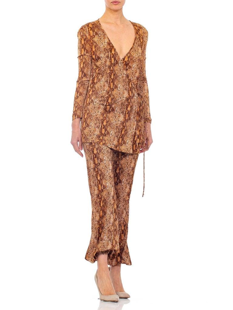 1970S Brown Snake Print Polyester Jersey Wrap Top Ensemble For Sale 3