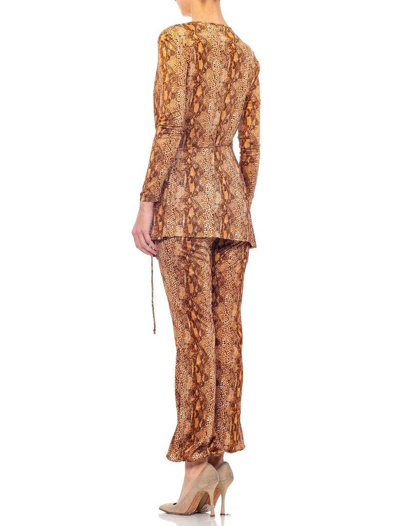 1970S Brown Snake Print Polyester Jersey Wrap Top Ensemble For Sale 4