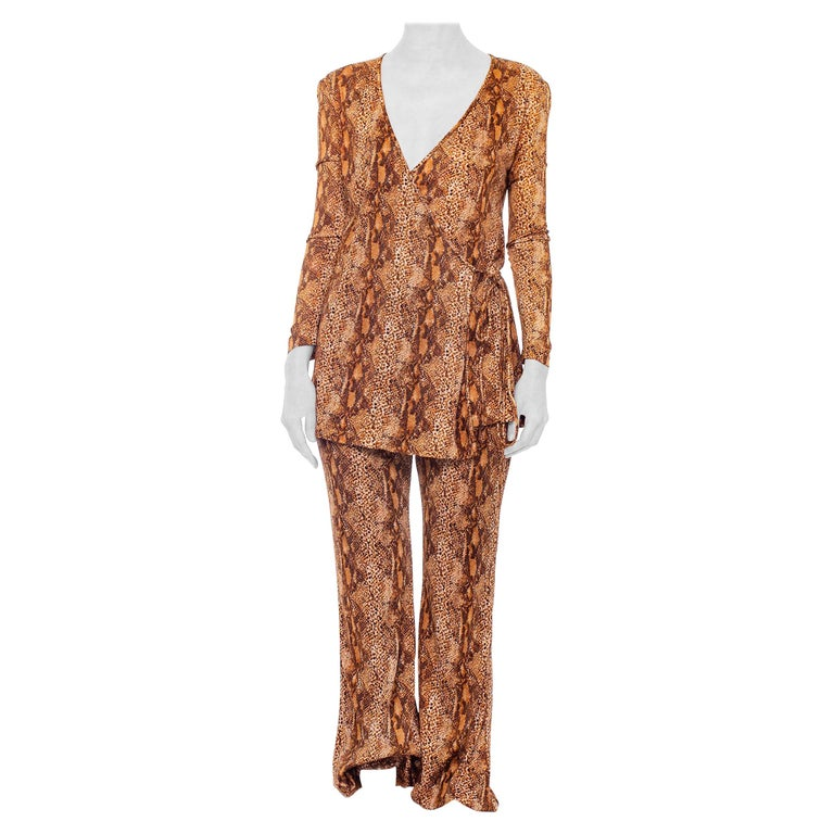 1970S Brown Snake Print Polyester Jersey Wrap Top Ensemble For Sale