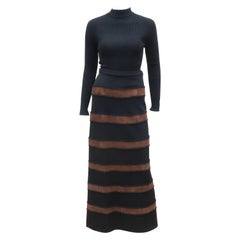 1970's Brown Suede Black Maxi Two Piece Sweater Dress