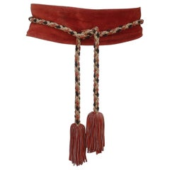 1970's Brown Suede & Gold Braid Tassel Belt
