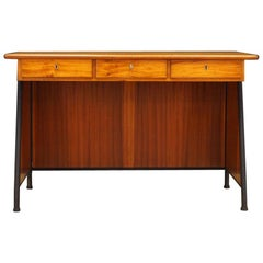 1970s Brown Writing Desk Danish Design Midcentury Original