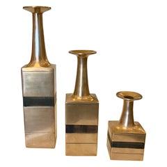 1970s Bruno Gambone Flared Bronze Vases, Set of 3 'Signed' for ESART
