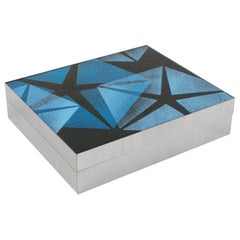 1970s Brushed Aluminum and Blue Enamel Box