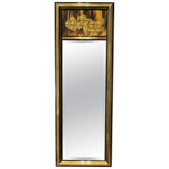 1970s Brutalist Bernhard Rohne for Mastercraft Acid Etched Brass Mirror