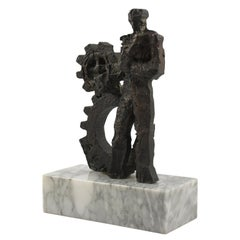 1970s Brutalist Bronze Sculpture on Marble Base, Man and Machine