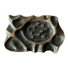1970s Brutalist Bronze Spore Belt Buckle