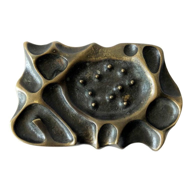 1970s Brutalist Bronze Spore Belt Buckle For Sale