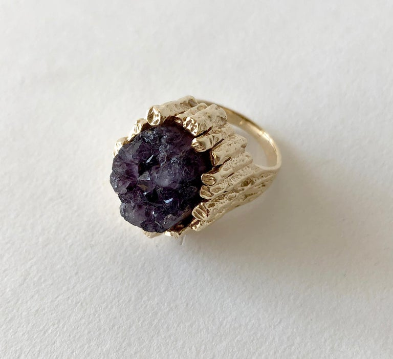 Brutalist 14K gold with dark amethyst druzy cocktail ring, circa 1970's.  Ring is a finger size 6 to 6.25 and is signed with an unknown hallmark on the interior shank.  Tests positive for 14K.  In very good vintage condition.  15.2 grams.