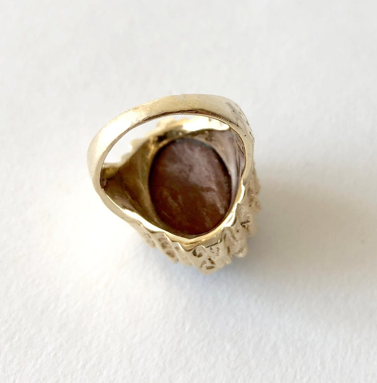 1970s Brutalist Gold Amethyst Druzy Cocktail Ring In Good Condition For Sale In Los Angeles, CA