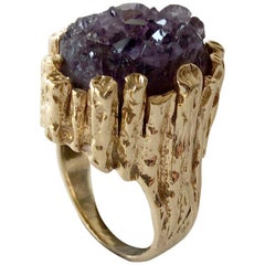 1970s Brutalist Gold Amethyst Druzy Cocktail Ring