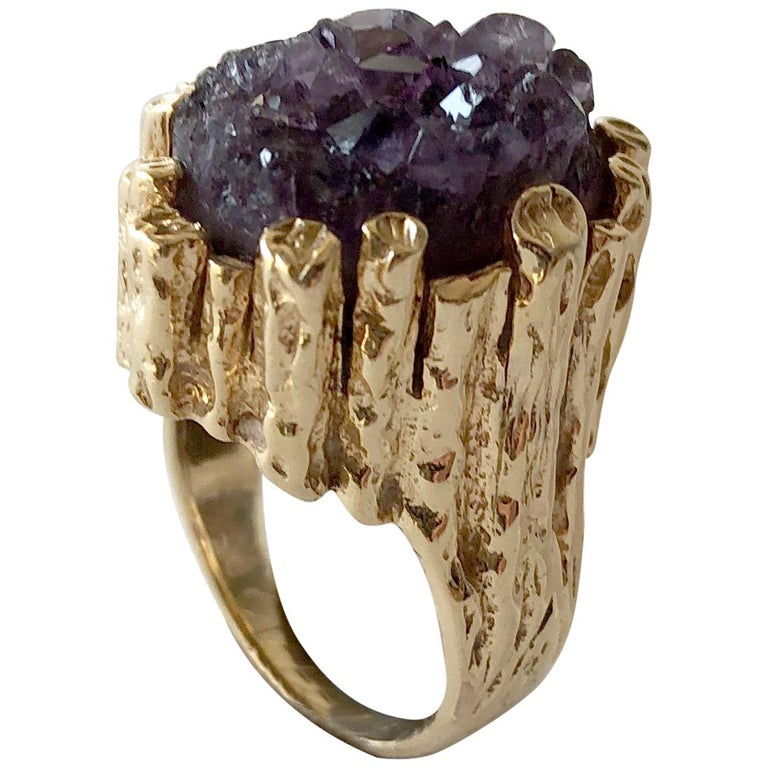 1970s Brutalist Gold Amethyst Druzy Cocktail Ring For Sale