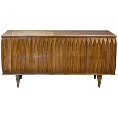1970s Brutalist Light Brown Oak with Walnut Travertine Top & Brass Feet Credenza
