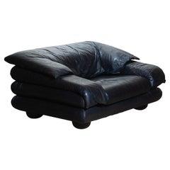 1970s Brutalist Lounge Chair in Black Leather by Wiener Werkstatte Austria