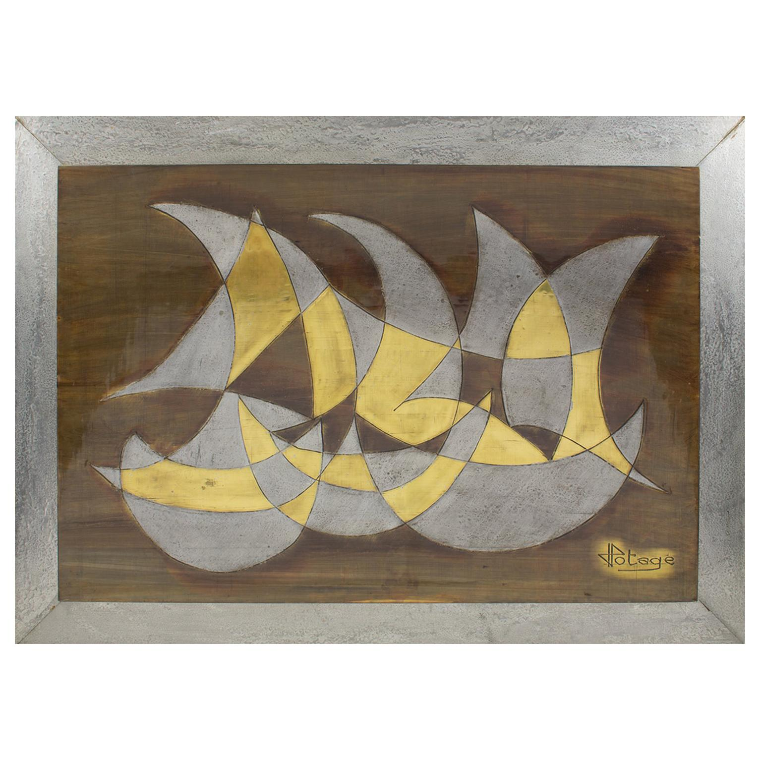 1970s Brutalist Metal Wall Art Sculpture Panel by French Artist Jacques Potage
