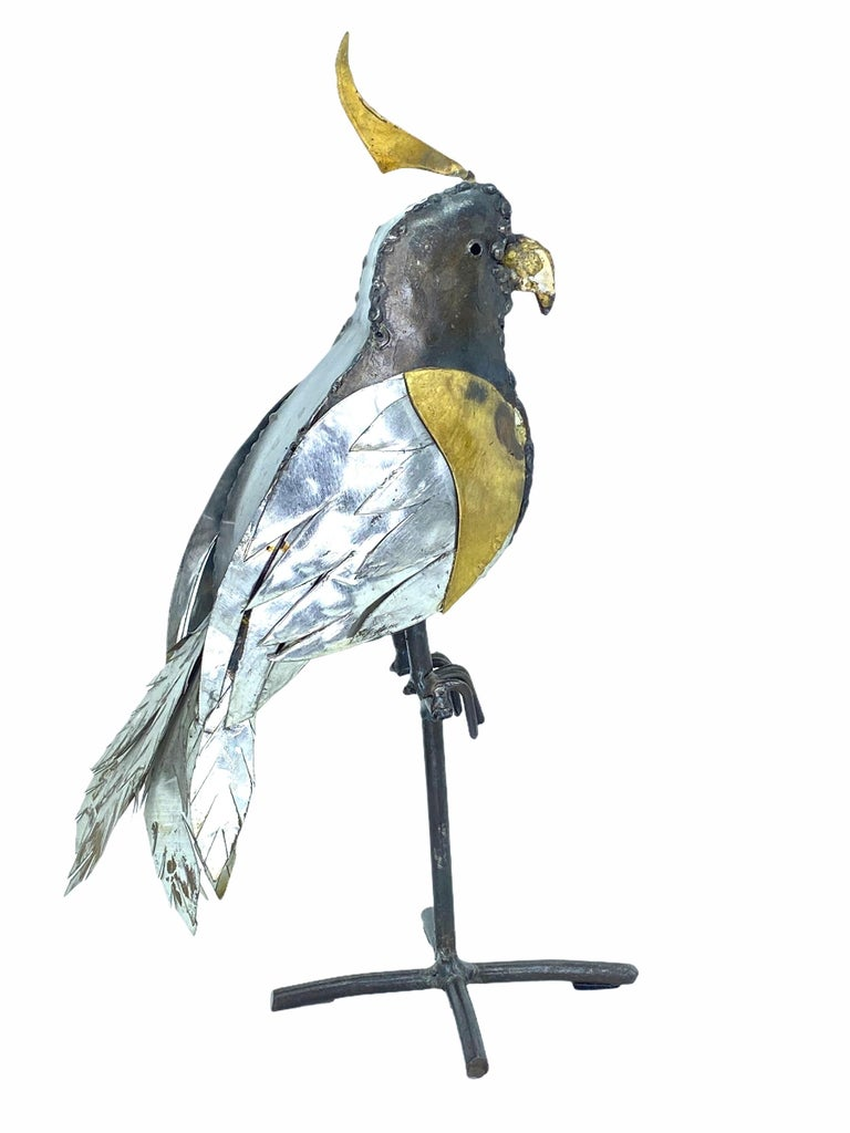 Mexican 1970s Brutalist Mixed Metal Parrot Sculpture in the Style of Sergio Bustamante For Sale