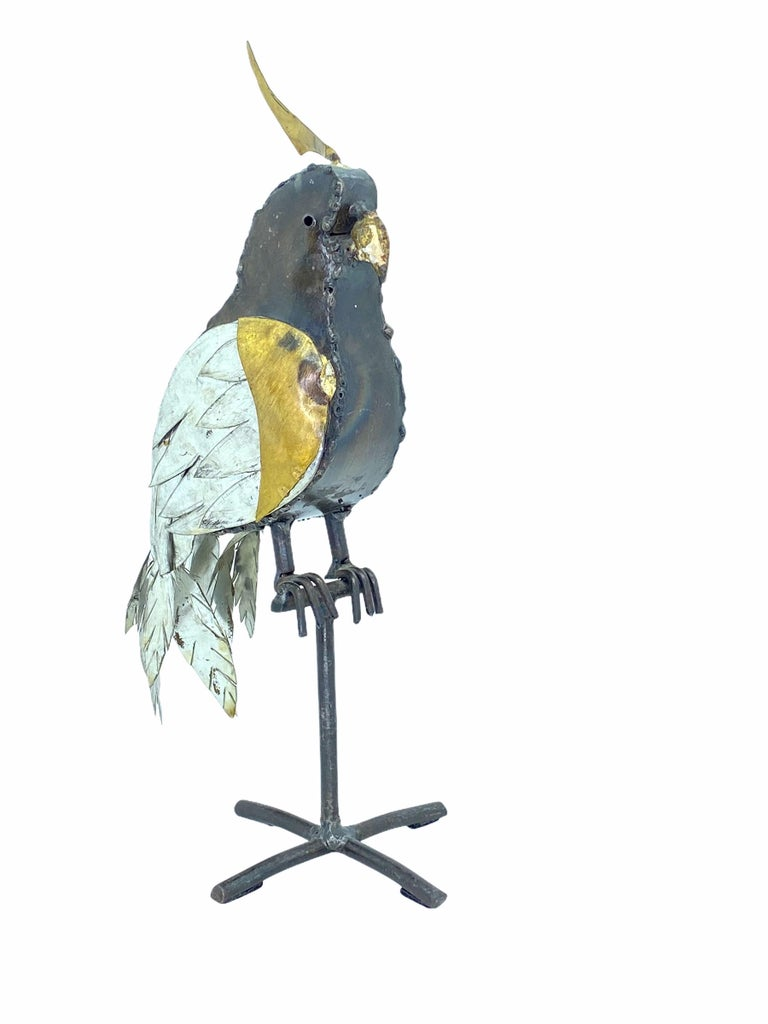 Hand-Crafted 1970s Brutalist Mixed Metal Parrot Sculpture in the Style of Sergio Bustamante For Sale
