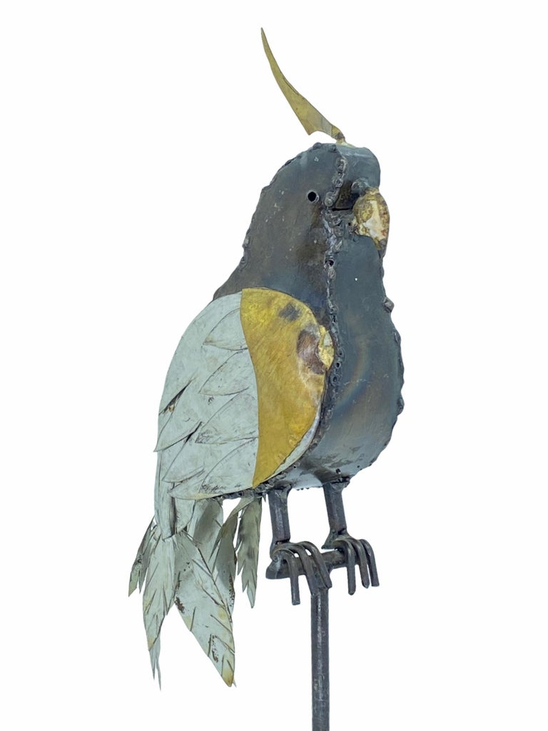 1970s Brutalist Mixed Metal Parrot Sculpture in the Style of Sergio Bustamante In Good Condition For Sale In Nürnberg, DE