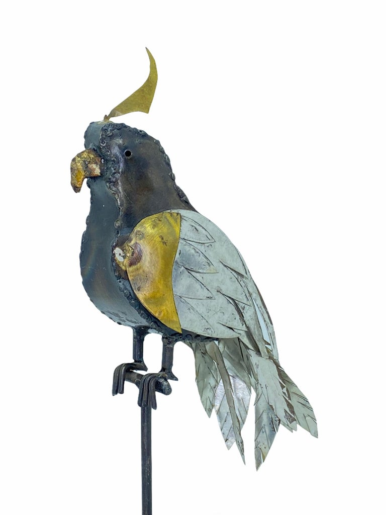 Late 20th Century 1970s Brutalist Mixed Metal Parrot Sculpture in the Style of Sergio Bustamante For Sale