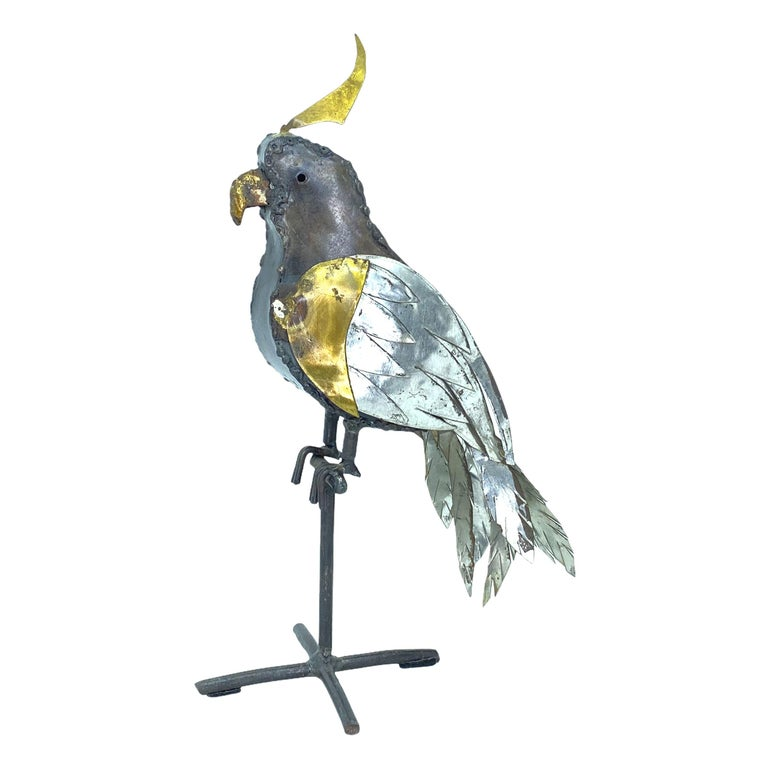 1970s Brutalist Mixed Metal Parrot Sculpture in the Style of Sergio Bustamante For Sale