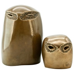 1970s Brutalist Monolithic Bronze Owl Modernist Bird Form Abstract Sculptures