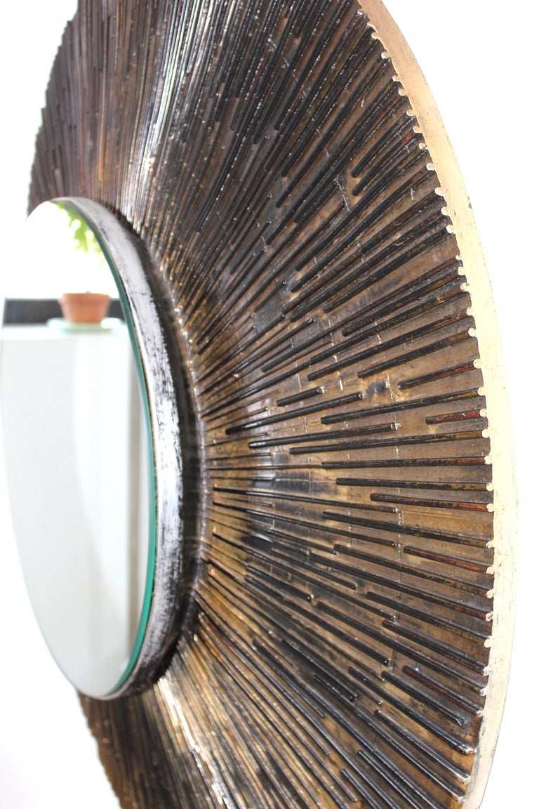 1970s Brutalist Paul Evans Style Wall Mirror 6