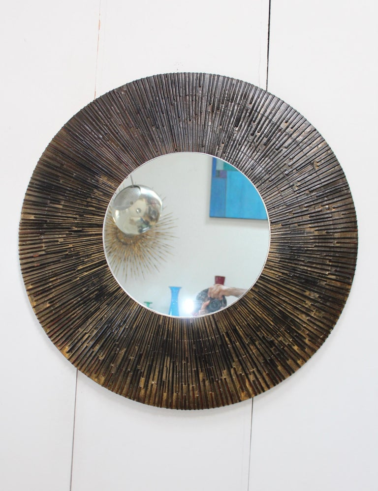 1970s Brutalist fiberglass wall mirror in the style of Paul Evans.