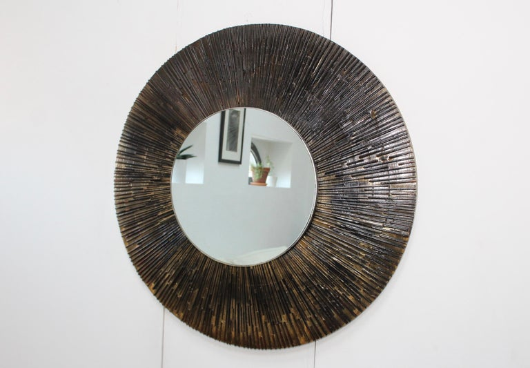American 1970s Brutalist Paul Evans Style Wall Mirror