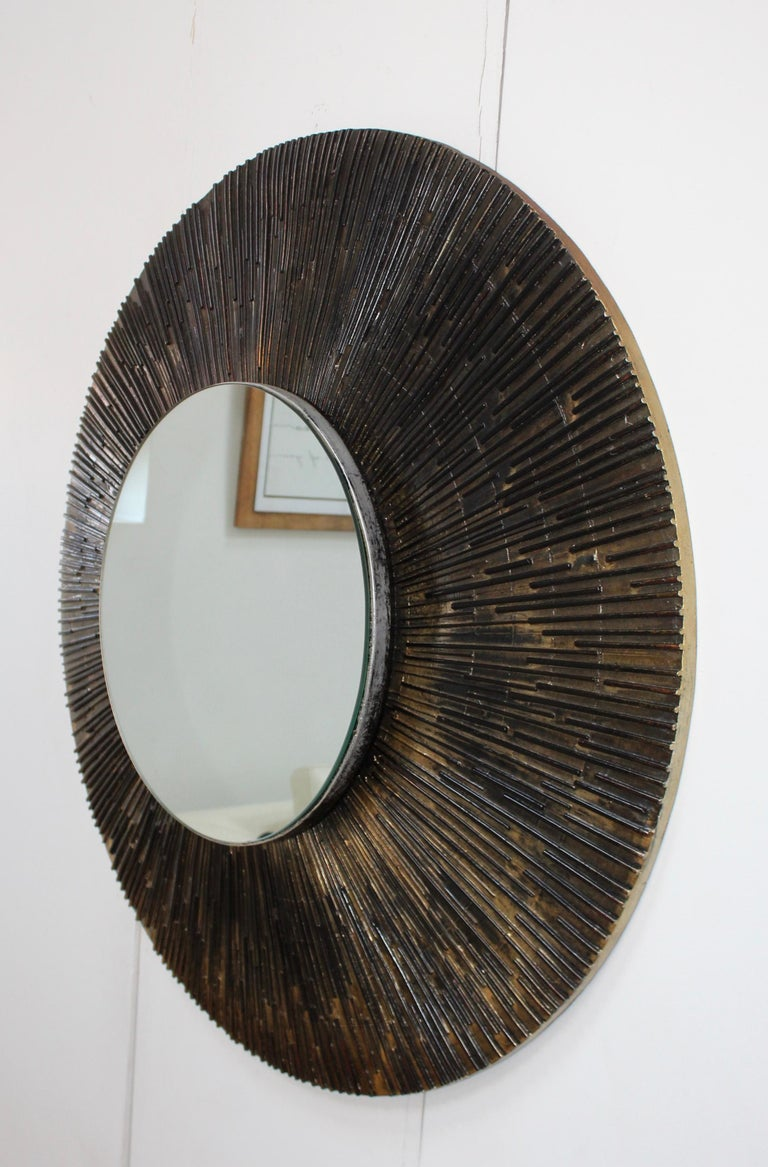 1970s Brutalist Paul Evans Style Wall Mirror In Good Condition In New York City, NY