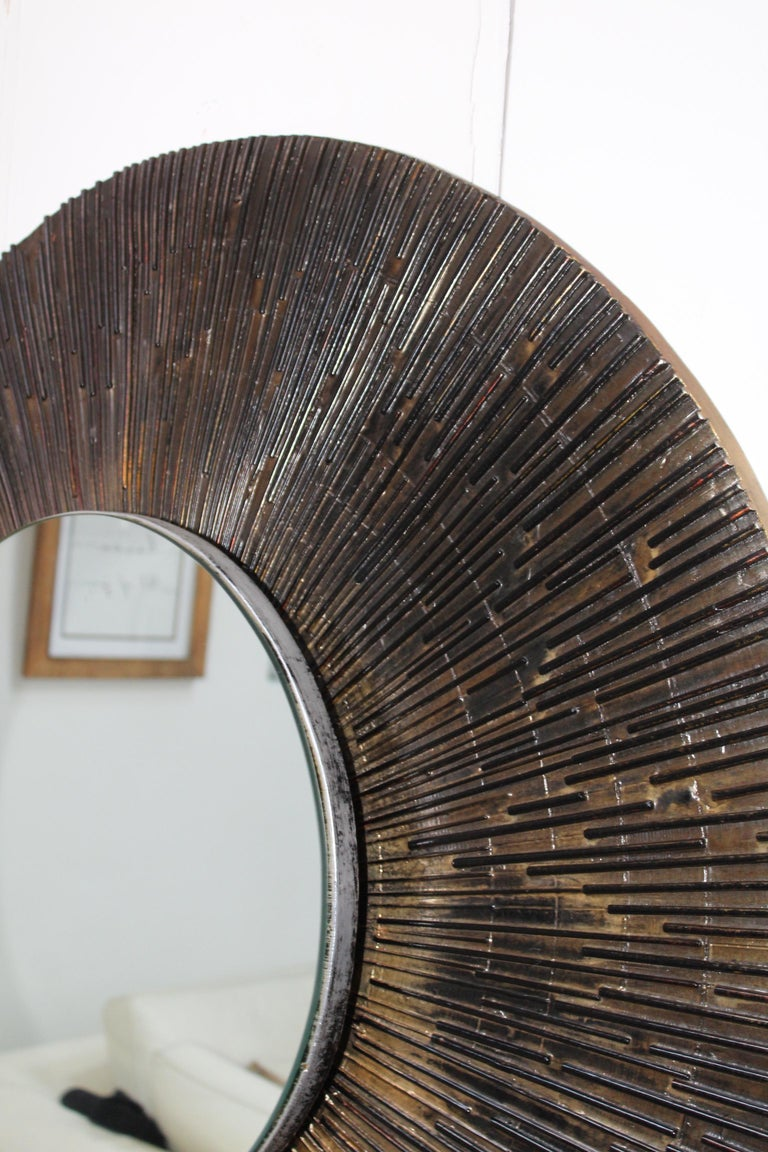 1970s Brutalist Paul Evans Style Wall Mirror 3