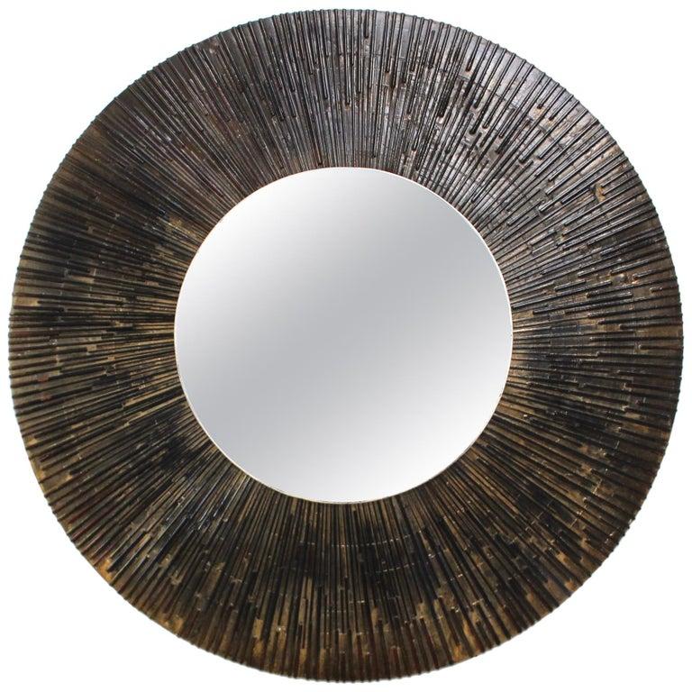 1970s Brutalist Paul Evans Style Wall Mirror