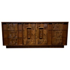 1970s Brutalist Pueblo Credenza Dresser by Lane
