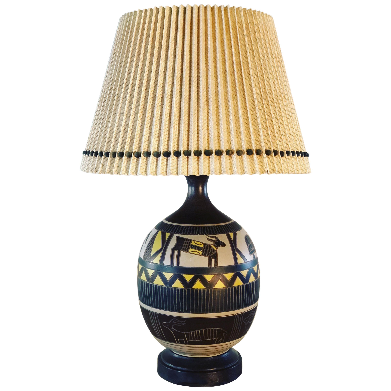 1970s Brutalist Style Aztec Ceramic Table Lamp