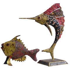 1970s Brutalist Torch-Cut Brass Sailfish and Fish Sculptures