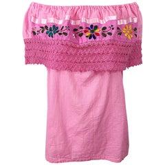 1970s Bubblegum Pink Embroidered Off - Shoulder Cotton Vintage Trapeze Top Shirt