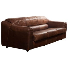 1970s Buffalo Leather Two-Seat Sofa