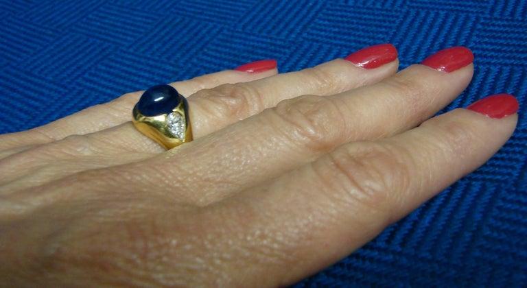 1970s Bulgari Cabochon Sapphire Diamond Gold Ring For Sale 6