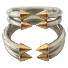 1970s Bulgari Platinum and Gold Stacking Rings